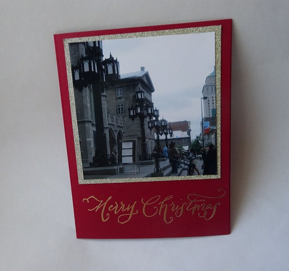 Christmas Card - Handmade Photo Card with City View of Street Lamps and Steps - #C1 - 306