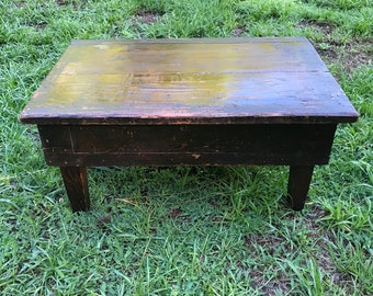 Antique Pine Table, Coffee Table, 1 drawer Table, Primitive Table, Small Primitive Table