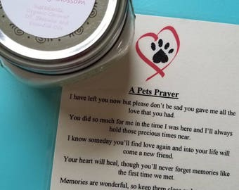A Pets Prayer Candle and Poem, Pet Grief, Organic Coconut Oil Candles, Choose Your Scent, Nontoxic, Chemical and Dye Free Pet Memorial