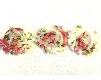 """Purple Leopard Gorgeous Shabby Frayed Chiffon Flower Rosettes 3 x 2.5"""", hair bands, clips, crafts etc"""