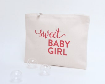 """Pouch in cotton screen-printed """"Sweet baby boy""""-coral"""