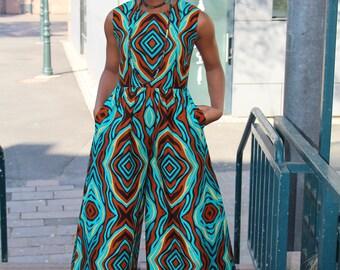 ISO Jumpsuit aus Blaue Afrikanische Baumwolle