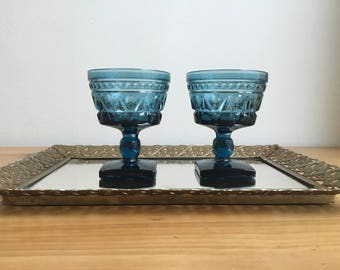 Indigo Pressed Glass Goblets Set Of 6 boho/midcentury/stemware/barware/wineglass