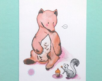 Hungry bear and his squirrel friend illustration/wish card/ wall decor