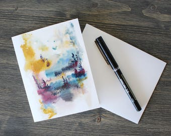 Abstract Watercolor Greeting Card with Envelopes. Blank Cards, For him, For her, Stationery, Colorful greeting cards, All Occasion Cards