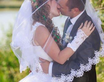 Bridal wedding veil Lace wedding veil cathedral wedding veil cathedral veil lace veil Lace bridal  bridal veil white tulle veil white bridal