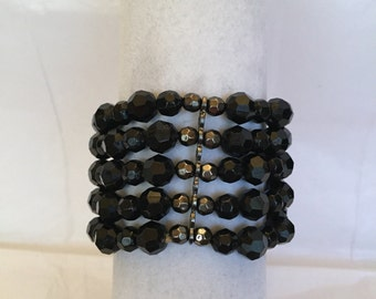 Black Shimmer Cuff Beaded Bracelet