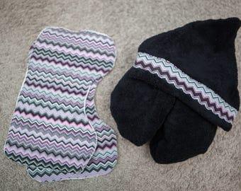 Black Chevron Hooded Towel with Matching Burp Cloths