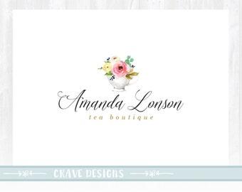 Teacup Logo Design ,Photography Logo Design, Wedding Logo, Boutique Logo ,Events Logo, Decor Logo Design, Floral Logo ,Watermark