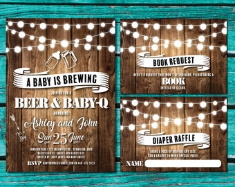 Baby is Brewing | Baby Q Shower Invitations | Beer and Baby-Q Shower | Baby Brewing | Baby BBQ | Baby Q Invitation | Rustic Baby Shower