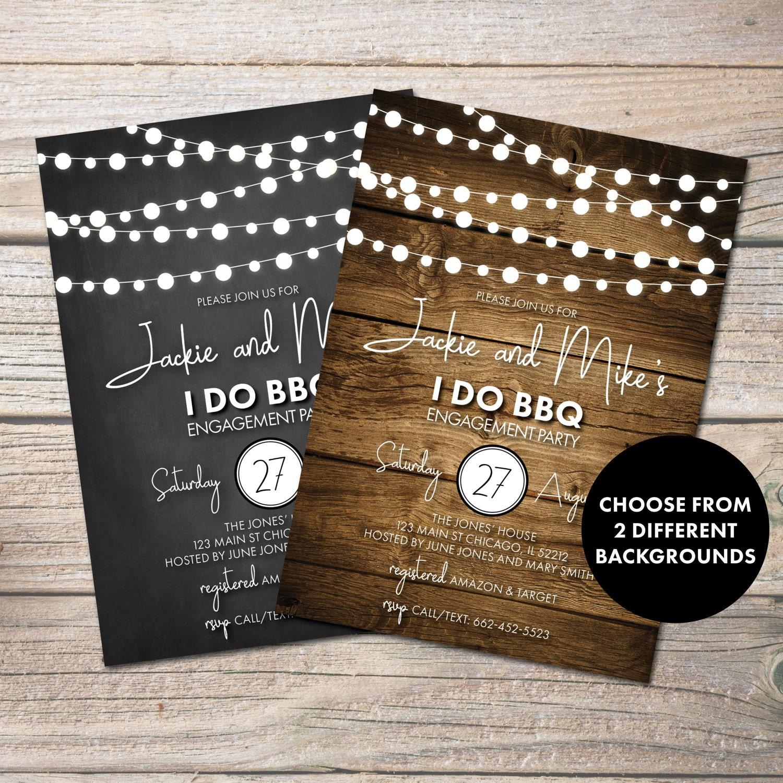 i do bbq engagement invitation rustic engagement invite