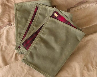 Handmade Waxed Canvas and Wool Ground Pad (Olive Drab)