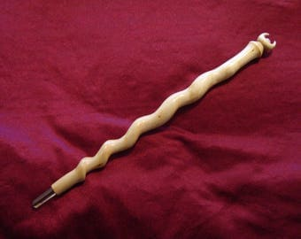 Seership and Vision / Willow Moon wand / Willow spiral / Pagan Willow Moon / Arte Mystique / Pagan Moonstone wand / GreenwoodEnchantment /