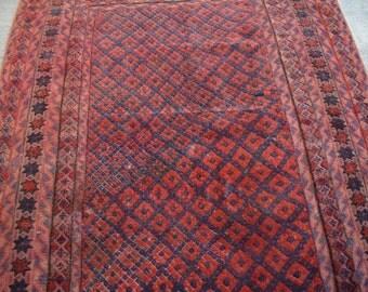 Afghan Semi Antique Mishwani wool square rug. Caucasian rug. Persian rug. Tribal rug. Oriental rug