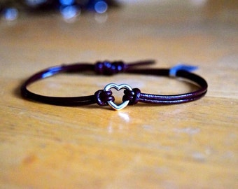 Heart Infinity Charm Bracelet, Leather, Charm Bracelet, Antique Silver Charm, Adjustable, Heart Charm, Friendship Bracelet