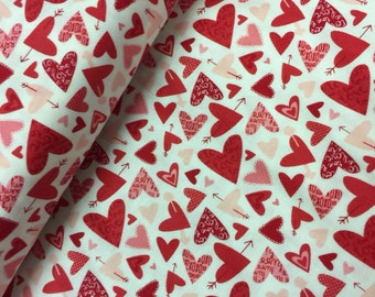 Valentine Fabric Kiss Kiss Hearts by Abi Hall for Moda 35254 Modern - CT 114570 100% High Quality Cotton by the YD