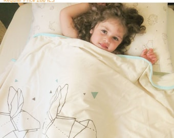 Kids Blanket, organic cotton, animals pattern - toddler blanket - kids bedding - toddler bedding - blanket for kids - natural linen