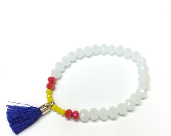 SALE!!! White Glass Bead, Bracelet