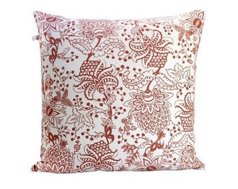 Naar Handscreen Printed Floor Cushion Cover - Indian Rust Floor Cushion 75x75cm Red Floor Cushion