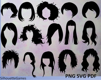 Hairstyles, women hairstyles, hairstyle silhouettes, black hair silhouettes hair style, hairdressing, Woman hair, vector hair,