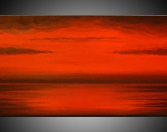 Large, Original, PAINTING on Canvas, RED, BLACK, red, landscape, sunset, Wall Art, Modern, Contemporary