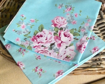 2 pc cotton fabric I Floral fabric I Fabric I Quilt fabric I Sewing fabric I Blue cotton fabric I Patchwork fabric I Appliqué fabric I Blue