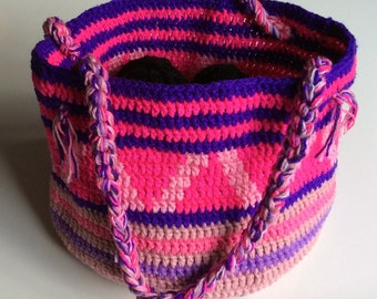Handmade crocheted shopping bag/beach bag/ market bag with pink and purple patterns. Gift for her.