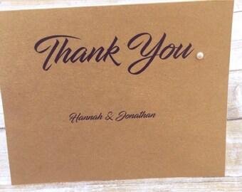 Thank You Wedding Card, Wedding Thankyou Personalised, Simple Wedding Thank You Card, From The New Mr & Mrs, Pretty Wedding Thank You Card