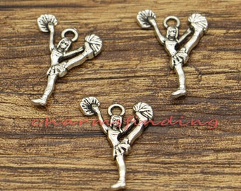 50pcs Cheerleader Charm Cheerleading Charm Cheer Charm I Love to Cheer Cheering Squad Cheer Team 24*18mm CF0534