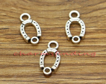 30pcs Horseshoe Connector Charms Good Luck Charms Antique Silver Tone 9x18mm cf1995