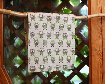 Linen cotton tea towel Green owls, hand towel, kitchen towel with owls 17,7'' x 27,6'' (45x70cm)