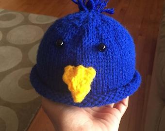 Blue Bird Hat, Newborn baby blue bird hat, Newborn Baby Blue Bird Beanie, Baby Photo Prop