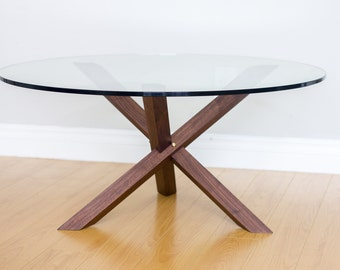 Mid-Century Modern Coffee Table - Walnut & Brass