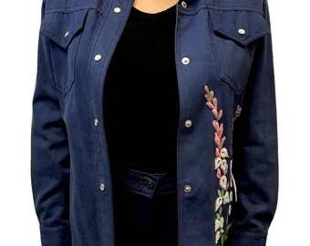 Vintage Beaded Two Piece Suit Blue cotton Dotti Didit