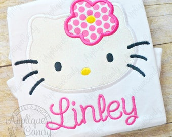 Kitty Applique 3 Machine Embroidery Design File 4x4 5x7 6x10 Hello Flower hk INSTANT DOWNLOAD
