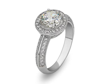 Rhodium plated Sterling Silver Round Ring w/Cz