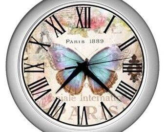 Wall clock Butterfly vintage image Wall  decor