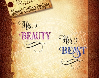 His Beauty Her Beast Svg Beauty Svg Beast svg Shirt Svg Cup SVG DXF PNG and Eps Instant Download Digital Vector Cut File   Silhouette Cricut