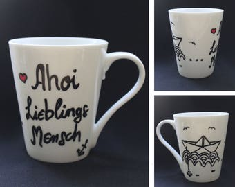 "Cup ""Ahoy favorite man"" - Cup hand painted - dishwasher - paper boat - anchor - heart - Seagull - favourite person"