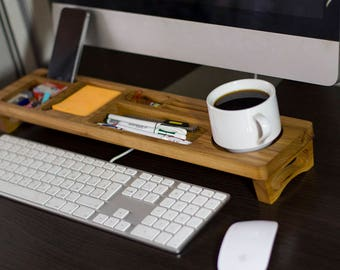 Berest Wood Desk Organizer Desktop Shelf Office & Home Keyboard Rack Wooden Desktop Storage Accessories