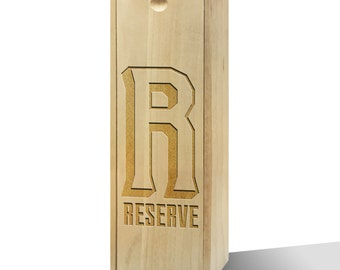 Wine Reserve Graphic Initial Slide Wooden Wine Box