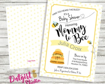 Mommy to Bee Bumble Bee  Baby Shower Invite - Neutral/Boy/Girl/ yellow, grey