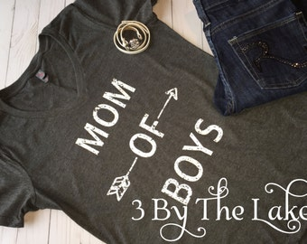 Mom of Boys, Women's (Distressed) V neck T shirt in Multiple Colors