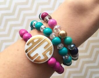 Monogrammed wood beaded bracelet, vinyl decal monogrammed bracelet, monogrammed mother of pearl