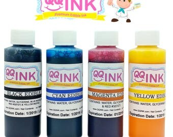 Premium Edible Ink Refill Kit for Canon Printer - 2 oz Bottles (BK / C / Y / M) by QQink
