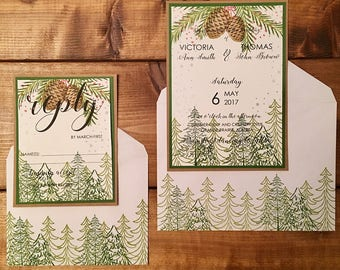 Forest Wedding Invitations // Winter Wedding Invitations // Custom Wedding Invitation