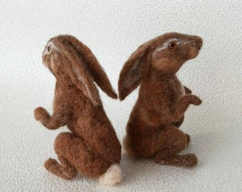 Hare, Brown hare, Sold individually ,  sculpture, Needle felted Hare, Hare ornament