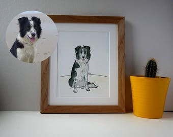 "Framed Custom Pet Portrait, Dog Illustration, Quirky Dog Illustration, Dog Art, Customised Pet Portrait, 10"" x 12"""
