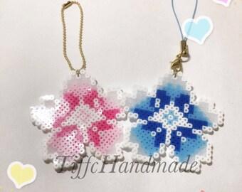 Sakura Perler Beads keychain/ Cell Phone Strap