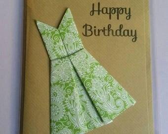 Origami dress 'Happy Birthday' card.